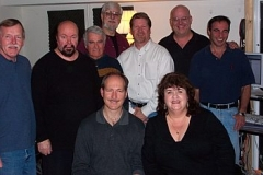 from left, Bob Payne, Phil Teele, Dick Nash, Bill Broughton, Gary Tole, Bob Sanders, Alan Kaplan,front: Jim Boltinghouse, Debbie Boltinghouse